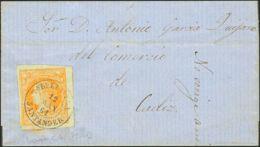 España. Cantabria. Historia Postal. Sobre 52. 1861. 4 Cuartos Amarillo. TORRELAVEGA A AGUILAR. Matasello TORRELAVEGA / S - Spain