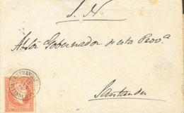 España. Cantabria. Historia Postal. Sobre 48. 1856. 4 Cuartos Rojo. ENTRAMBAS-AGUAS A SANTANDER. Matasello ENTRAMBAS-AGU - Spain