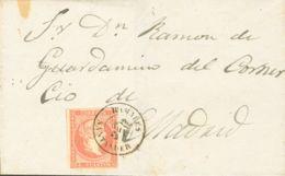 España. Cantabria. Historia Postal. Sobre 48. 1856. 4 Cuartos Rojo. RAMALES A MADRID. Matasello RAMALES / SANTANDER. MAG - Spain