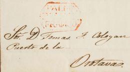 España. Canarias. Prefilatelia. Sobre . 1844. LA PALMA A LA OROTAVA. Marca PALMA / DE CANARS / FRANCO, En Rojo (P.E.1) E - Spain