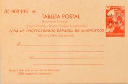 España. Cabo Juby. Entero Postal. (*)2M. 1933. 25 Cts Rojo Sobre Tarjeta Entero Postal. MUESTRA. MAGNIFICA Y RARA. (Láiz - Cabo Juby