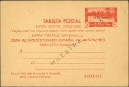 España. Cabo Juby. Entero Postal. Cabo Juby. Entero Postal. E.P. 4M. Ida Y Vuelta Y MUESTRA. - Cabo Juby