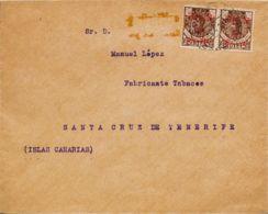 España. Cabo Juby. Sobre 3(2). 1916. 15 Cts Sobre 50 Cts Castaño, Dos Sellos. Carta Filatélica De CABO JUBY A SANTA CRUZ - Cabo Juby
