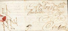 """España. Andalucía. Prefilatelia. Sobre . 1704. MALAGA A AMBERES. Porte """"32"""" Manuscrito. MAGNIFICA E INTERESANTE. - ...-1850 Prephilately"""