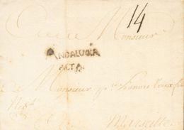 España. Andalucía. Prefilatelia. Sobre . 1758. MALAGA A MARSELLA (FRANCIA). Marca ANDALUCIA / ALTA (P.E.3) Edición 2004. - ...-1850 Prephilately