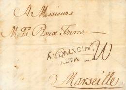 España. Andalucía. Prefilatelia. Sobre . 1764. MALAGA A MARSELLA (FRANCIA). Marca ANDALVCIA / ALTA (P.E.4) Edición 2004. - ...-1850 Prephilately
