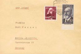 España. 2º Centenario Correo Aéreo. Sobre 1165, 1120. 1955. 50 Pts Negro Y 4'50 Pts Castaño Rojo. MADRID A BERLIN. MAGNI - Aéreo
