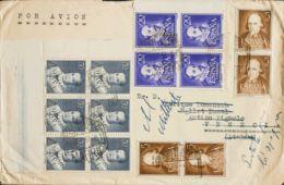 España. 2º Centenario Correo Aéreo. Sobre 1102(6), 1071(4), 1074(4). 1951. 50 Cts Azul, Bloque De Seis, 5 Cts, Cuatro Se - Aéreo