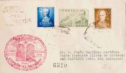 España. 2º Centenario Correo Aéreo. Sobre 1093, 945, 1071. 1951. 75 Cts Azul, 2 Pts Verde Y 5 Cts Castaño. Certificado A - Aéreo