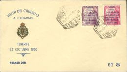 España. 2º Centenario Correo Aéreo. Sobre 1088/89A. 1950. 1950. Serie Completa Terrestre 1ª Tirada. SOBRE DEL PRIMER DIA - Aéreo