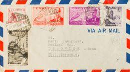 España. 2º Centenario Correo Aéreo. Sobre 1070, 940, 942. 1950. Diversos Valores. Carta Aérea De MADRID A LETOVICE (REPU - Aéreo