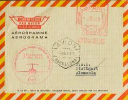 España. 2º Centenario Correo Aéreo. 1º VUELO (3-ABR-73), Al Dorso Llegada. MAGNIFICA. - Aéreo