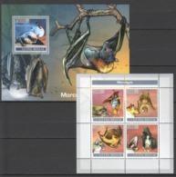 D219 2007 GUINE-BISSAU FAUNA WILD ANIMALS MORCEGOS BATS 1KB+1BL MNH - Bats