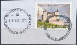 France - Châteaux Et Demeures (Saumur) YT A717 Obl. Cachet Rond Manuel Sur Fragment - Francia