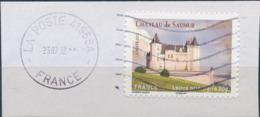France - Châteaux Et Demeures (Saumur) YT A717 Obl. Ondulations Et Dateur Rond Sur Fragment - Francia