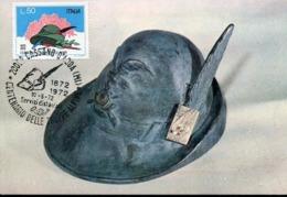 49058 Italia, 1972 Cassano D'adda,  Centenario Truppe Alpine, Cappello Alpino - Cartoline Maximum