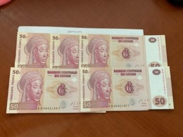 Congo 50 Francs Unc. Banknote 2013 Lot Of 5 - Nicaragua