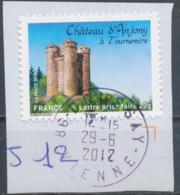 France - Châteaux Et Demeures (Anjony) YT A718 Obl. Cachet Rond Manuel Sur Fragment - Francia
