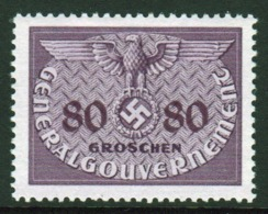 Poland German Occupation 1940 Single 80g Official Stamp. - General Government