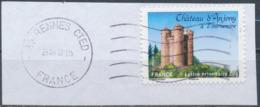 France - Châteaux Et Demeures (Anjony) YT A718 Obl. Ondulations Et Dateur Rond Sur Fragment - Francia
