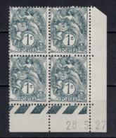 TIMBRE TYPE BLANC N° 107 En BLOC DE 4 TIMBRES NEUFS ** Avec COIN DATÉ Du 28.5.27 (1927) - 1900-29 Blanc