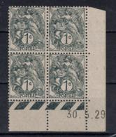 TIMBRE TYPE BLANC N° 107 En BLOC DE 4 TIMBRES NEUFS ** Avec COIN DATÉ Du 30.5.29 (1929) - 1900-29 Blanc