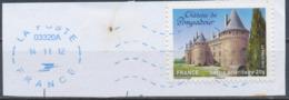 France - Châteaux Et Demeures (Pompadour) YT A719 Obl. Ondulations Et Dateur Rond Bleu Sur Fragment - Francia