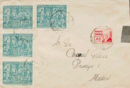España. Beneficencia. Sobre 24(4), 737. 1936. 5 Cts Verde, Cuatro Sellos Y 45 Cts Rojo. ALICANTE A MADRID. Al Dorso Lleg - Beneficenza