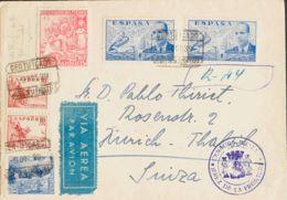 España. Beneficencia. Sobre 17. 1939. 10 Cts Rosa Y Diversos Valores. Certificado De JEREZ DE LA FRONTERA A THALWIL (SUI - Beneficenza