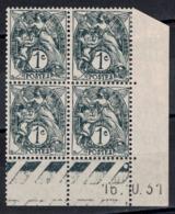 TIMBRE TYPE BLANC N° 107 En BLOC DE 4 TIMBRES NEUFS ** (1 TIMBRE *) Avec COIN DATÉ Du 16.10.31 (1931) - 1900-29 Blanc