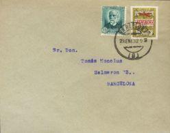 España. Ayuntamiento De Barcelona. Sobre NE9/16. 1932. Serie Completa NO EMITIDA Circulada Sobre Ocho Cartas Filatélicas - Barcelona