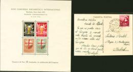 "España. Ayuntamiento De Barcelona. MH *. 1952. 15 Pts ""donativo"". Hojita Bloque Conmemorativa Del XXXV CONGRESO EUCARIST - Barcelona"