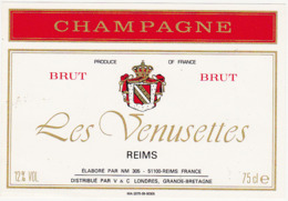 Etiquette Champagne BRUT Les Venusettes - Reims (51) / 75 Cl - Champagne