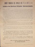 España. Guerra Civil. Brigada Internacional. Sobre . 1938. Panfleto Del COMITE COMARCAL DEL RIPOLLES DEL P.S.U.C. DE C.I - 1931-Today: 2nd Rep - ... Juan Carlos I