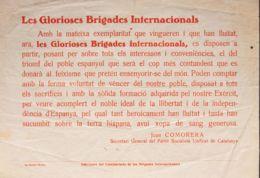 España. Guerra Civil. Brigada Internacional. Sobre . 1938. Panfleto Del Partit Socialista Unificat De Catalunya Realizad - 1931-50 Briefe U. Dokumente