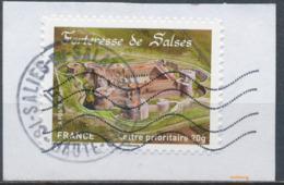 France - Châteaux Et Demeures (Salses) YT A721 Obl. Cachet Rond Manuel Et Ondulations Toshiba Sur Fragment - Francia