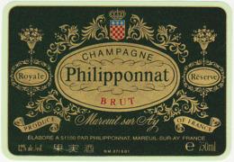 Etiquette Champagne BRUT Royale Réserve Philipponnat à Mareuil Sur Ay (51) / 750 Ml - Champagne