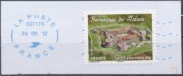 France - Châteaux Et Demeures (Salses) YT A721 Obl. Ondulations Et Dateur Rond Bleu Sur Fragment - Francia