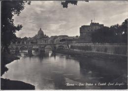 ROMA, ROM - San Pietro E Castel Sant' Angelo   Viaggiata 1956 - San Pietro