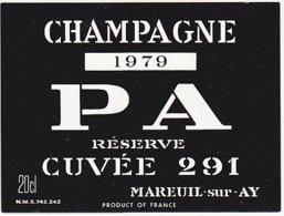 Etiquette Champagne 1979 PA RESERVE Cuvée 291 à Mareuil Sur Ay (51) / 20 Cl - Champagne