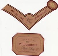 Etiquette Champagne BRUT Réserve Rosé Philipponnat à Mareuil Sur Ay (51) / 750 Ml (2 Pièces) - Champagne