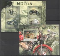 D229 2012 CENTRAL AFRICA CENTRAFRICAINE TRANSPORATION MOTOS 1KB+1BL MNH - Motorräder