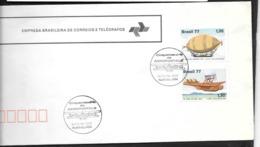 France:Cinquantenaire De L'Aéropostale (à Signaler Un Léger Pli à Droite Des Timbres ,visible) - Brésil
