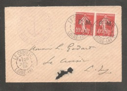 Sur Fragment   Paire De 10c Semeuse Surch FM   Oblit  LE CROISIC  1908 + Cachet Inscription Maritimes - Franchise Militaire (timbres)