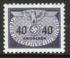 Poland German Occupation 1940 Single 40g Official Stamp. - General Government