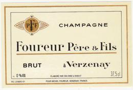 Etiquette Champagne BRUT Foureur Père & Fils à Verzenay (51) / 37.5 Cl - Champagne