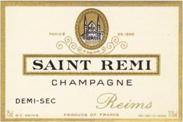 Etiquette Champagne DEMI-SEC SAINT-REMI à Reims (51) / 75 Cl - Champagne