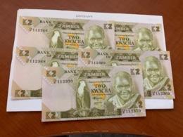 Zambia 2 Kwacha Unc. Banknote 1988  Lot Of 5 - Sambia