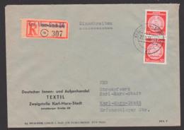 Hartha Bz. Chemnitz Karl-Marx-Stadt 24 R-Zettel Umbenennung Provisorium Orts-R-Brief 30 Pf(2) Portogenau DIA - [6] República Democrática