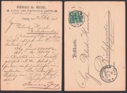 Leipzig Karte Mit Werbung Schwarz & Große Kakao Und Schokoladen-Fabrik 1898 Nach Bischofswerda - Deutschland